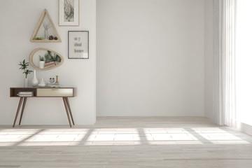 White empty room. Scandinavian interior design. 3D illustration