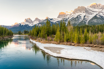 Sun rise over the Bow river and Rockies, Canmore, CanadaSun rise over the Bow river and Rockies, Canmore, CanadaSun rise over the Bow river and Rockies, Canmore, Canada