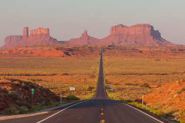 Wall Murals Deep brown Forrest Gump Point at US Highway 163 toward Monument Valley Navajo Tribal Park