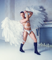 model with big white angel wings