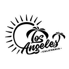 Los Angeles. Black and white lettering design. Decorative inscription. Vintage vector and illustration.