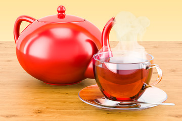 Cup of tea with teapot on the wooden table. 3D rendering