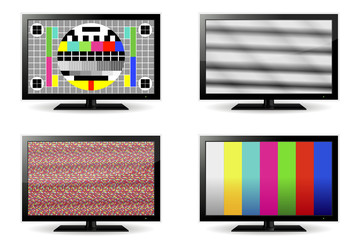 TV test pattern and no signal screens