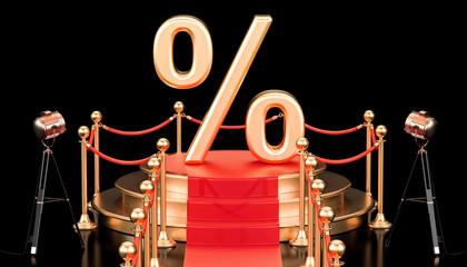 Podium with percent sign, 3D rendering