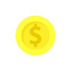 Yellow golden coin vector flat illustration design concept. Isolated on white background sign.