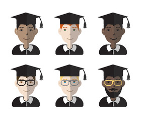 Colorful set of six racially diverse graduates. Vector illustration.