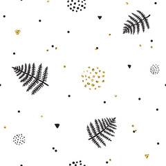 Fern and doodles ink & gold vector hand drawn seamless pattern.