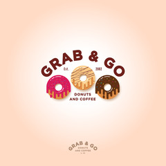 Grab and go Donuts logo. Bakery and donuts cafe emblem. Chocolate, pink and cream donuts with small candies and letters. Identity. Monochrome option.
