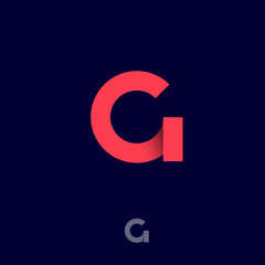G origami monogram. Red ribbons like letter G initial. Network icon. Typography. Lettering design.