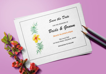 Save The Date Card Layout with Yellow Flower Element
