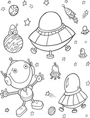 Spoed Foto op Canvas Cartoon draw Cute Outer Space UFO Robots Vector Illustration Art