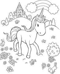 Photo sur cadre textile Cartoon draw Unicorn Pony Horse Fairytale Castle Vector Illustration Art