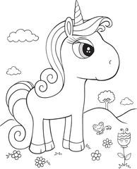 Unicorn Pony Horse Vector Illustration Art
