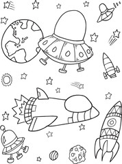 Door stickers Cartoon draw Cute Outer Space Rocket Spaceship Vector Illustration Set