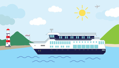 Color vector illustration of a cruiser ship,sailing into harbor ,on a sunny day.