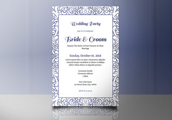 Wedding Invitation Layout with Blue Floral Border