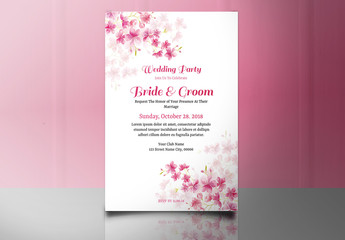 Wedding Invitation Layout with Pink Flower Clusters