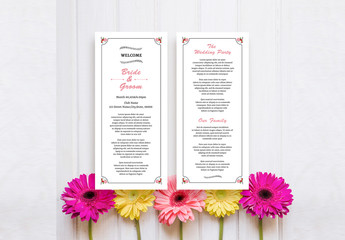 Wedding Program Layout with Pink Accents and Floral Elements