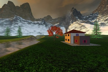 House in the countryside, an alpine landscape, coniferous trees, river, snowy mountains and a cloudy sky.