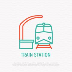 Train station thin line icon. Modern vector illustration of public transport.