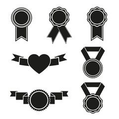Black emblems set isolated on white background.
