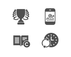 Set of Winner, Ð¡opyright and Smartphone statistics icons. Update time sign. Sports achievement, Copywriting book, Mobile business. Refresh clock.  Quality design elements. Classic style. Vector