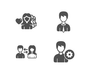 Set of People communication, Woman love and Businessman icons. Support sign. People talking, User data, Edit profile.  Quality design elements. Classic style. Vector