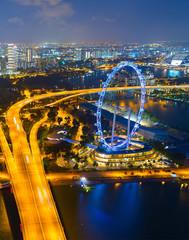 Fototapete -  Singapore Ferries Wheel, aerial view