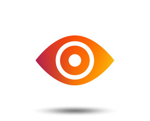 Eye sign icon. Publish content button. Visibility. Blurred gradient design element. Vivid graphic flat icon. Vector