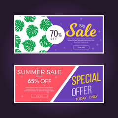 Sale and discounts set of banners. Sale banner template design. Summer season sale banner with tropical leaf pattern. Vector illustration.