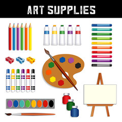 Art Supplies: colored pencils, sharpeners, tubes of paint, oil pastel crayons, felt tip marker pens, watercolors, brushes, artist palette, jars of paint, easel with blank canvas, isolated on white