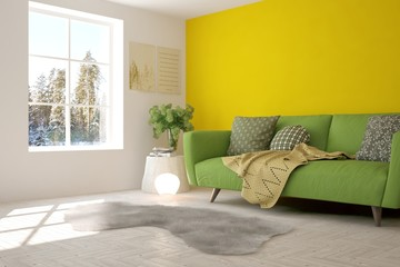 Yellow room with sofa and winter landscape in window. Scandinavian interior design. 3D illustration