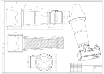 Drawing and 3d model of the camera on a white