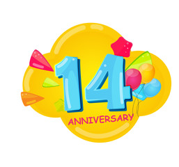 Cute Cartoon Template 14 Years Anniversary Vector Illustration