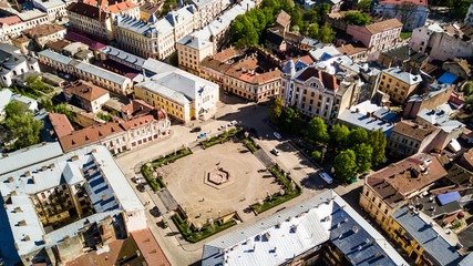 CHERNIVTSI, UKRAINE - April , 2018 : Filarmonic square, Chernivtsi city from above Western Ukraine. Sunny day of the city.