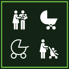 Set of 4 baby filled icons