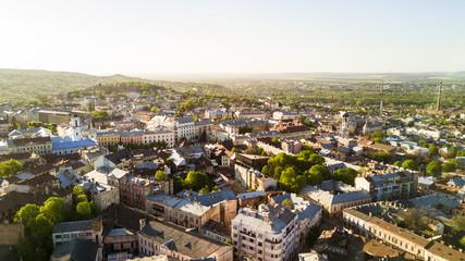 CHERNIVTSI, UKRAINE - April , 2018 : Chernivtsi city from above Western Ukraine. Sunny day of the city.