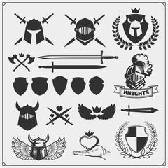 Vector set of medieval warrior knight emblems, logos, labels, badges emblems, signs and design elements.