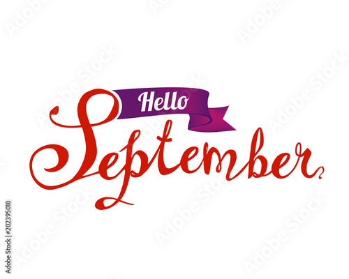 hello september hand written doodle word