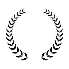 laurel wreath, heraldic design, black icon
