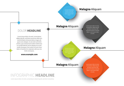 Infographic Layout with Circle and Diamond Shape Elements