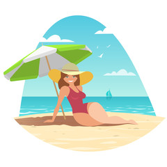 A woman in a bathing suit and hat sits under a sun umbrella on a sandy beach by the blue sea. Vector illustration.