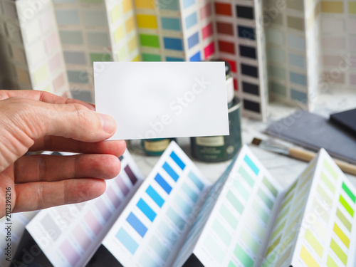Business card on a color palette background color selection for business card on a color palette background color selection for painting works reheart Gallery