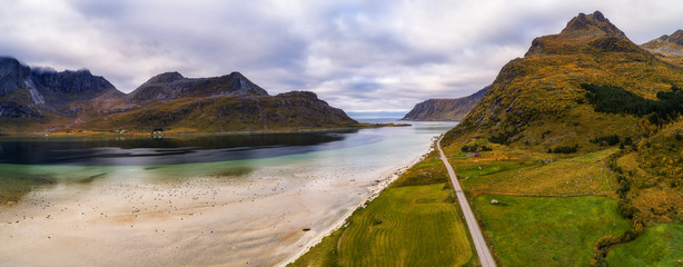 Wall Mural - Scenic road along the coastline and mountains on Lofoten islands