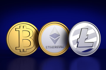 Crypto currencies: 3D Render of a bitcoin, Ethereum and Litecoin substitute coin against dark blue background