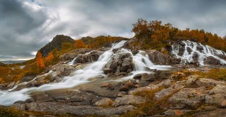 Wall Mural - Lofoten waterfall on Moskenesoya, Lofoten, Norway