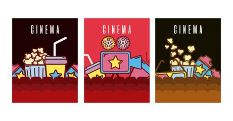 Set of cimena cards cartoons