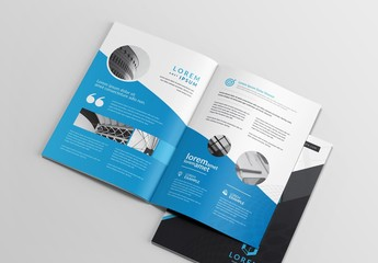 Blue and Dark Gray Brochure Layout with Compass Illustration