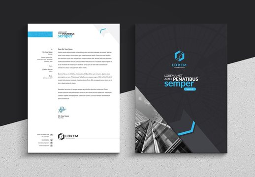 Blue and Dark Gray Letterhead Layout with Compass Illustration