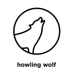 howling wolf icon isolated on white background